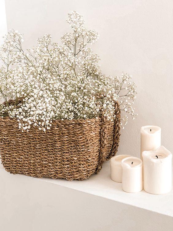 flores secas en baño