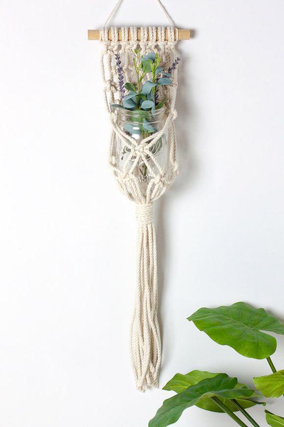 colgadores plantas macramé